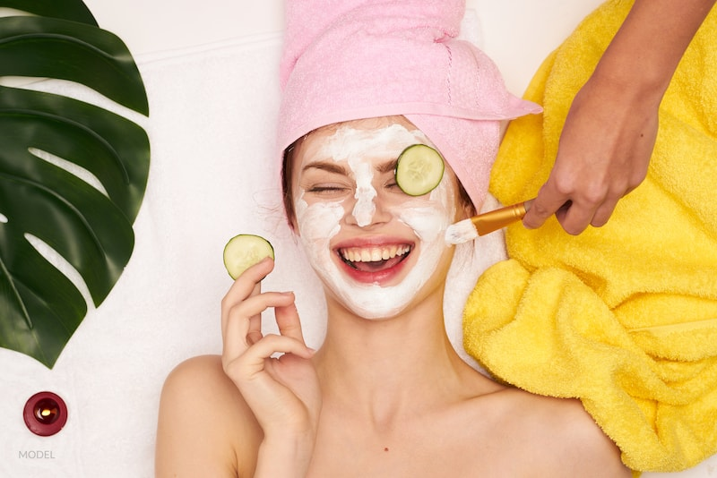 Alt Text: cosmetic procedures, mask for skin care and spa